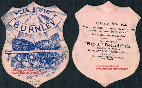 1890 Burnley F.C. by W N Sharpe, a Clarets puzzle card from 130 years ago!